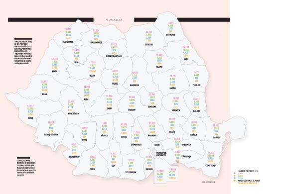 Harta salariilor din România: Judeţele şi industriile care plătesc cel mai bine şi cele cu cele mai mici salarii