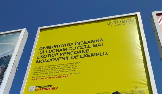 """G4Media.ro: Mesaj publicitar controversat al unei companii din Timișoara: """"Diversitatea înseamnă să lucrăm cu cele mai exotice persoane. Moldovenii, de exemplu"""" / Compania va da jos afișul"""