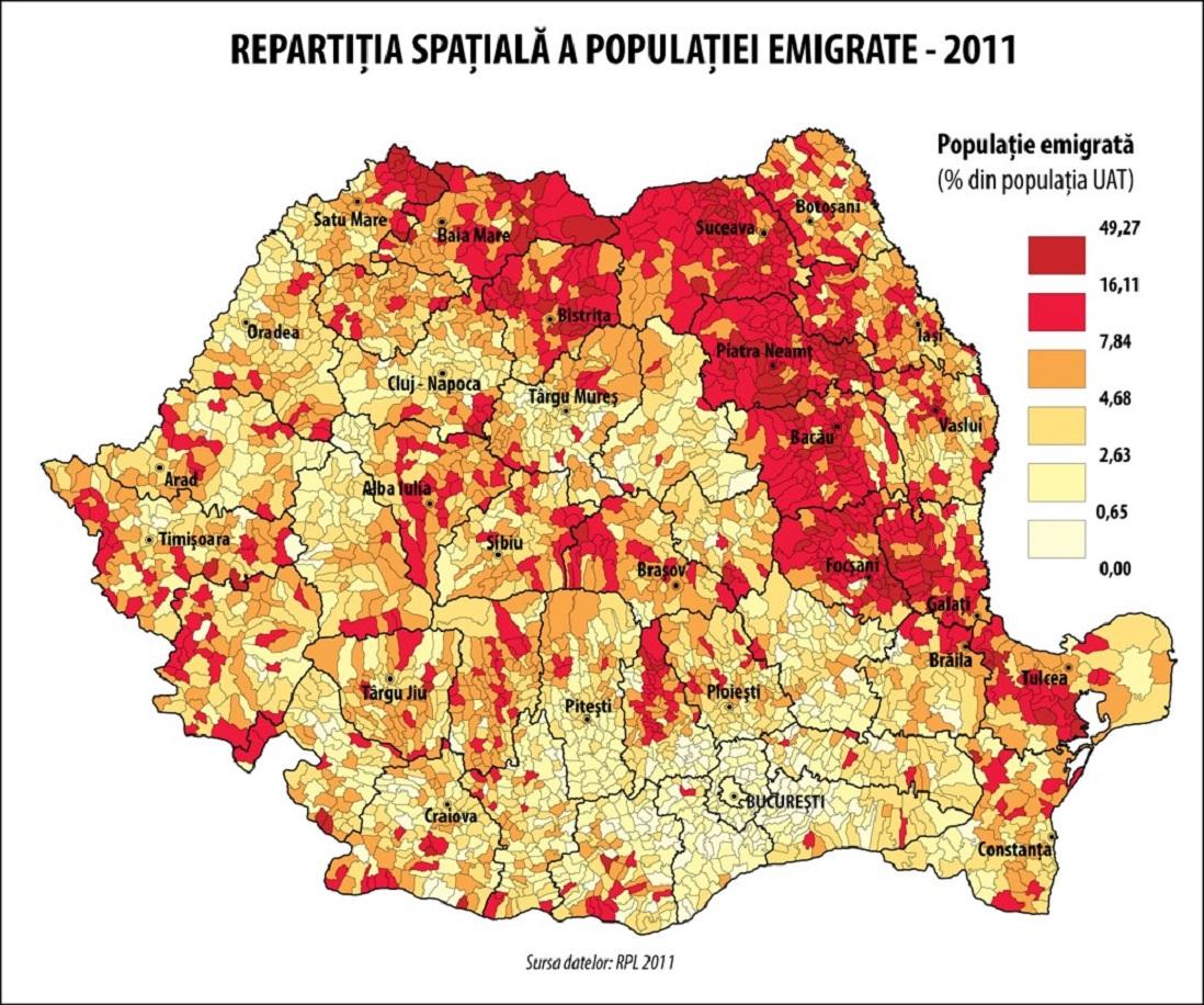 Repartiţia spaţială a migraţiei internaţionale la nivel de comune şi oraşe relevă, pe lângă disparităţile interregionale, şi dezechilibre evidente la nivel regional.